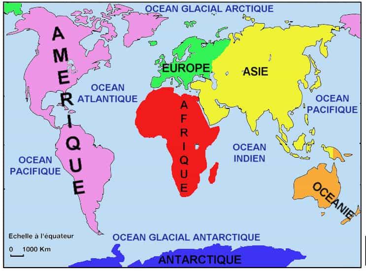 Planisphère de la terre, de ses océans et de ses continents