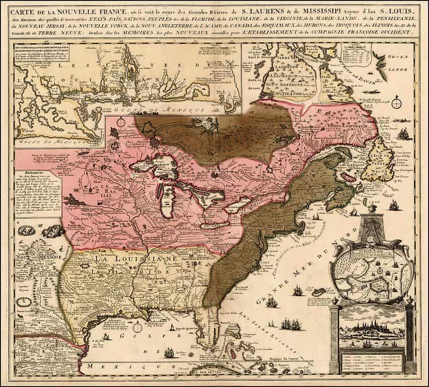 Carte Nouvelle France colonies françaises Canada
