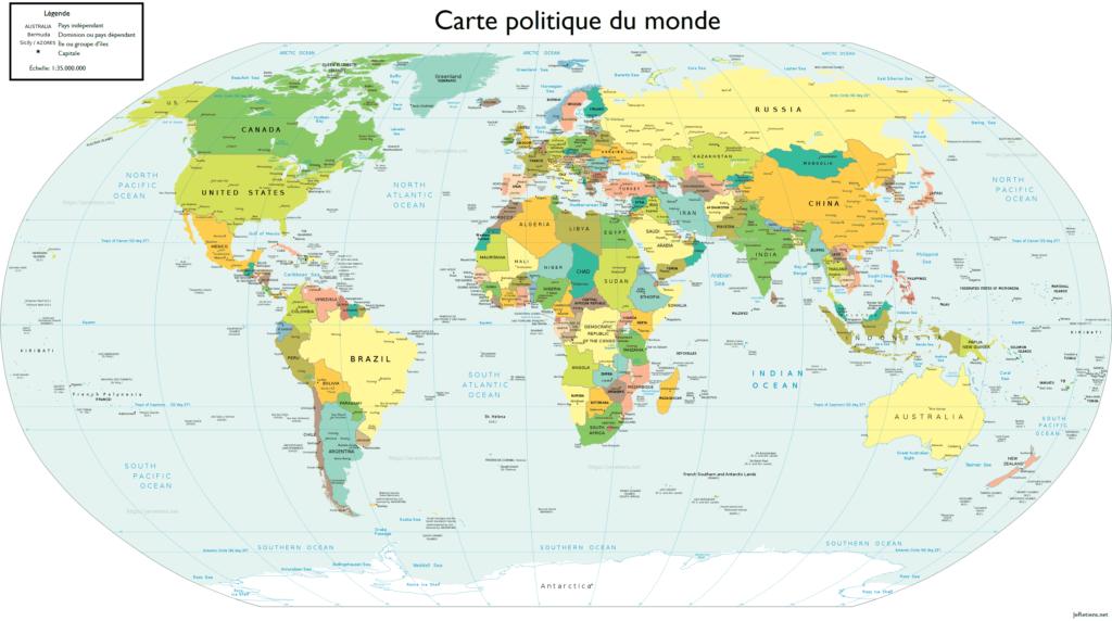 Carte de tous les pays du monde et de leur capitale