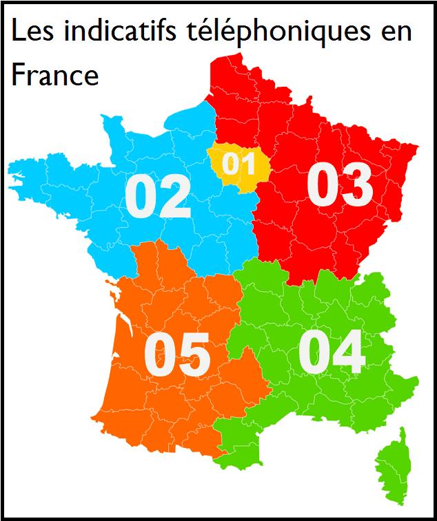 Carte des préfixes téléphoniques en France.