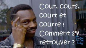 Cour ou cours ? Court ou cours ? A court ou à cours ? Courre ? Quelle différence entre ces mots homophones ?