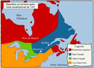 Répartition du territoire du Canada après l'acte constitutionnel de 1791, Haut-Canada et Bas-Canada.
