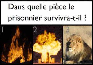 Solution trois portes feu explosifs et lion pour survivre