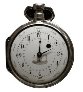 Exemple d'une montre à gousset reprenant les heures décimales, mais aussi les jours et la semaine du calendrier républicain.