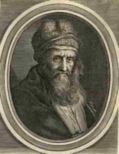 Gravure de Diogène Laërce, poète et biographe du 3ème siècle après J.C.