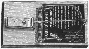 Schéma d'un des tout premiers pièges à rats/souris, datant du XIXème siècle.