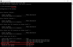 Aperçu de la commande ipconfig sous Windows pour trouver son adresse IP locale