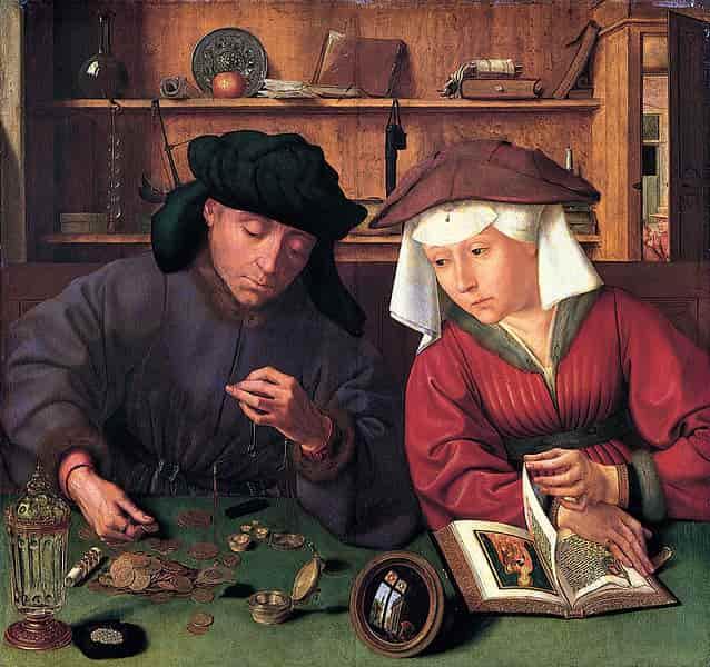 Tableau de Quentin Massys en 1514, le Prêteur et sa femme.