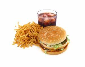 Hamburger, frites, coca, menu classique des fast food, junk food