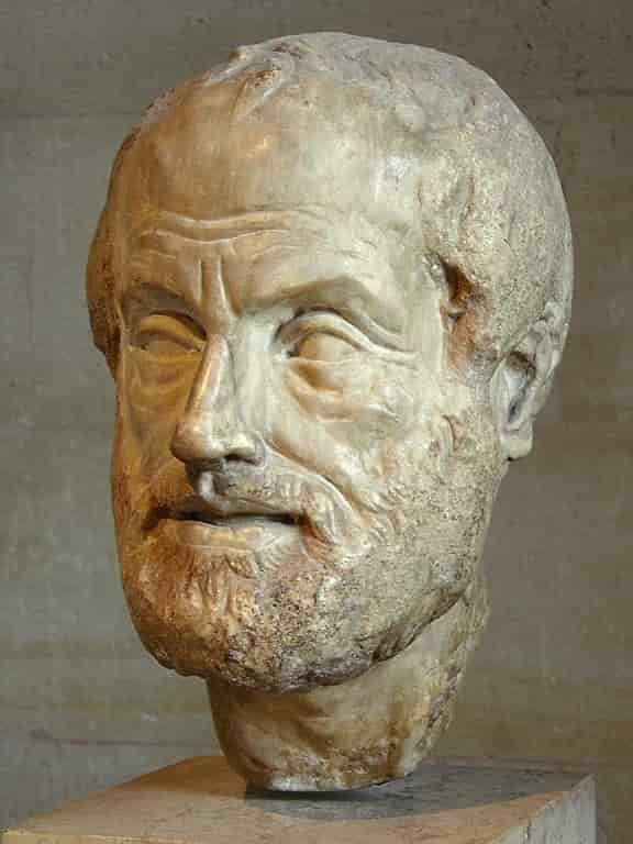 Buste d'Aristote, philosophe grec et précepteur d'Alexandre le Grand.