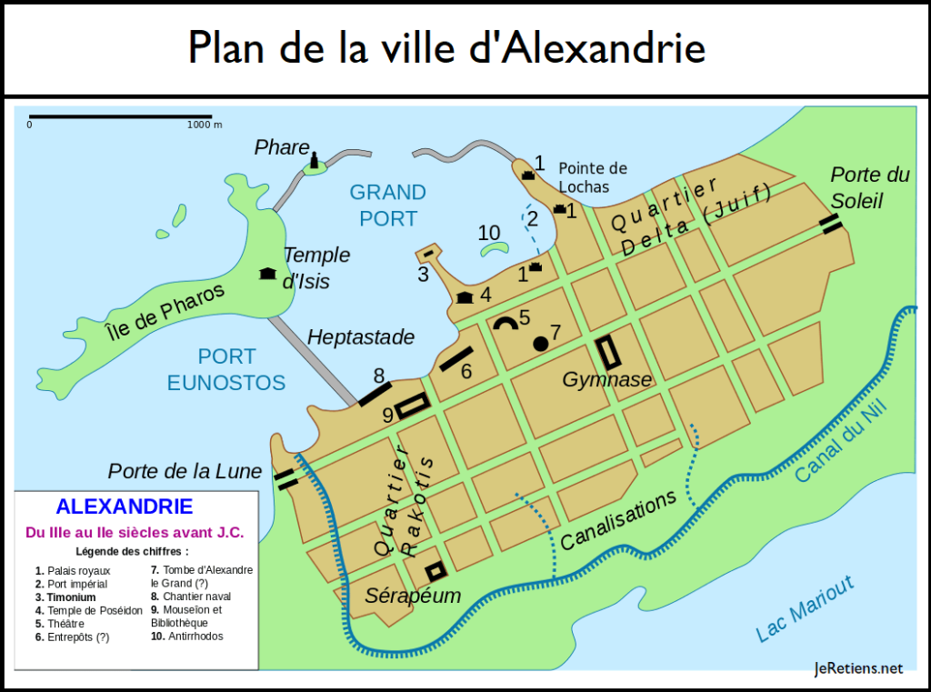 Plan de la ville d'Alexandrie aux IIIème et IIème siècles avant J.-C.