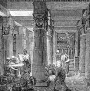 O. Von Corven, La grande bibliothèque d'Alexandrie, XIXème siècle.