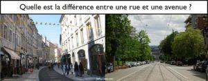 Quelle est la différence entre une avenue et une rue ?