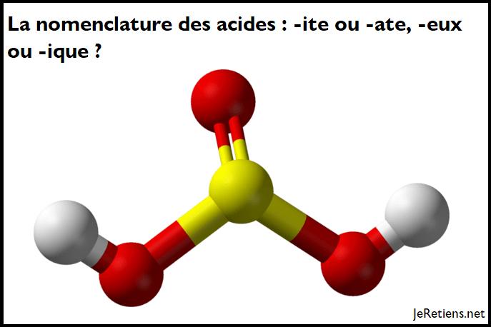 Comment appeler les acides ? En ate ou en ite ?