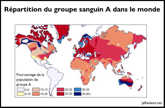 Répartition du groupe sanguin A dans le monde.