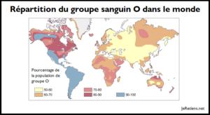 Répartition du groupe sanguin O dans le monde.