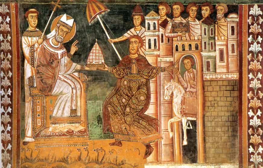 Illustration de la donation de Constantin datant du XIIème siècle